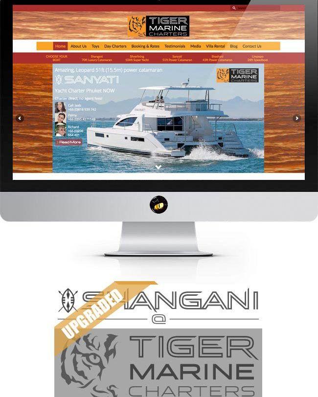 finflix design sudio website design phuket tiger marine charter home page