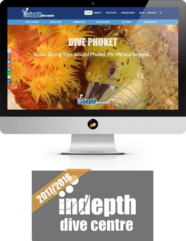 indepth dive centre website design phuket finflix home page
